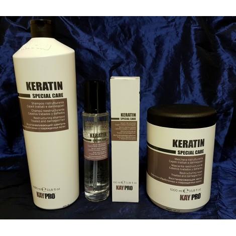 Kaypro Keratin Промо Пакет Кератин: Шампоан с Кератин 1000мл + Маска за коса с Кератин 1000мл + Серум  за коса с Кератин 100 мл