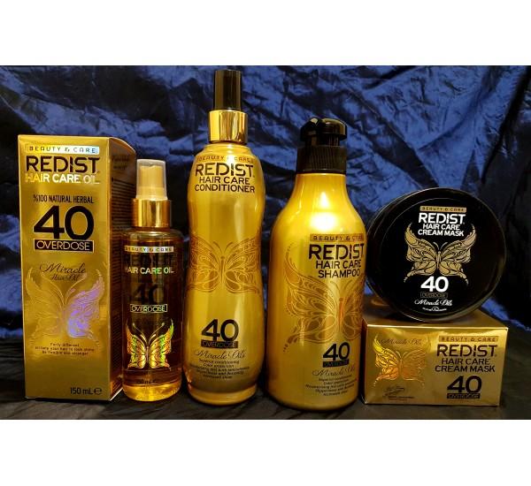 Redist Miracle Oil Промо Пакет продукти за коса с 40 натурални билкови масла - ( Шамоан 500мл + Двуфазен балсам 400мл + Маска за коса 300мл + Олио за коса 150мл)