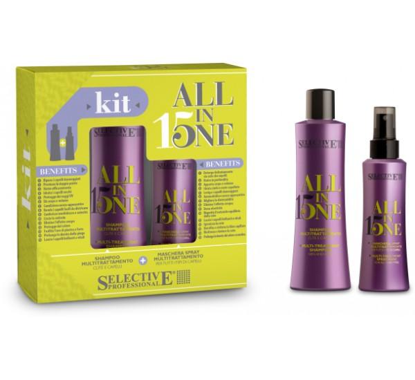 Selective Professional 15 All in One Комплект от Мултифункционален шампоан 250ml + Мултифункциоанлен флуид 15 в Едно за коса 150ml